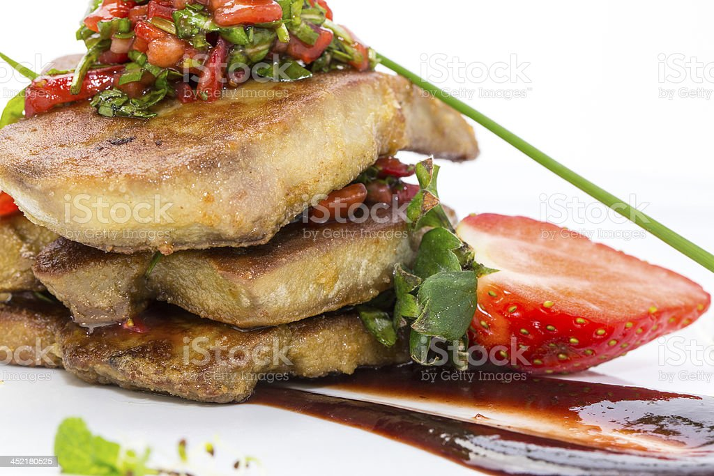 foie gras with strawberry sauce royalty-free stock photo