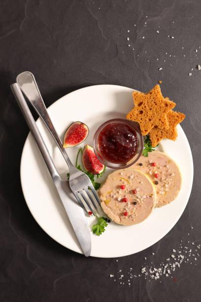 foie gras, pain d'épice et gelée de figue - foie gras photos et images de collection