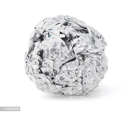Isolated foil ball on a white background.