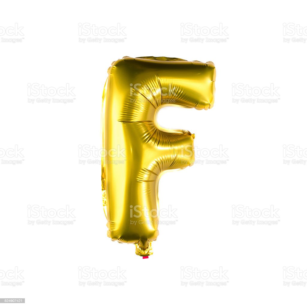 Foil balloon alphabet letter F stock photo