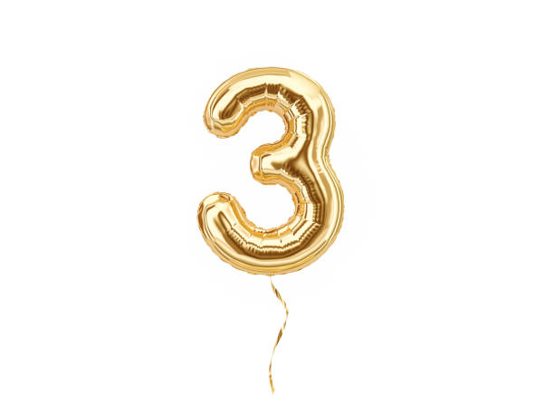 3. foil balloon number three - terceira imagens e fotografias de stock