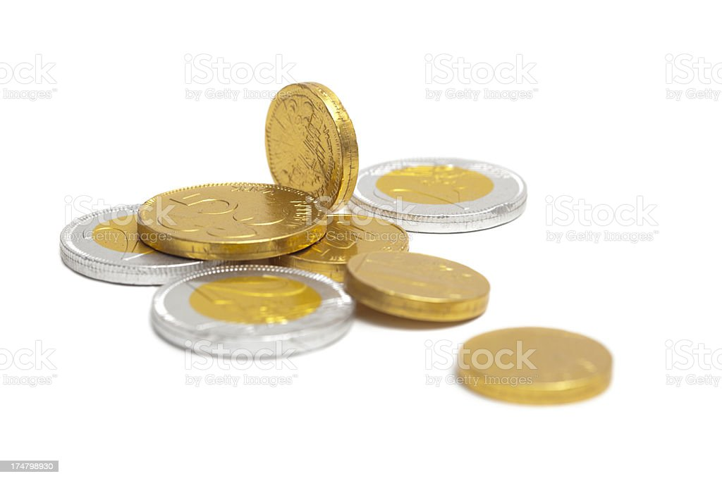Foil Covered Chocolate Gelt Coins for Hanukah royalty-free stock photo