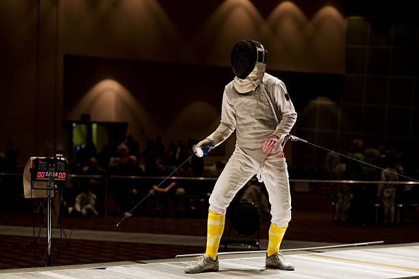 Foil Fencer Ready To Compete stock photo