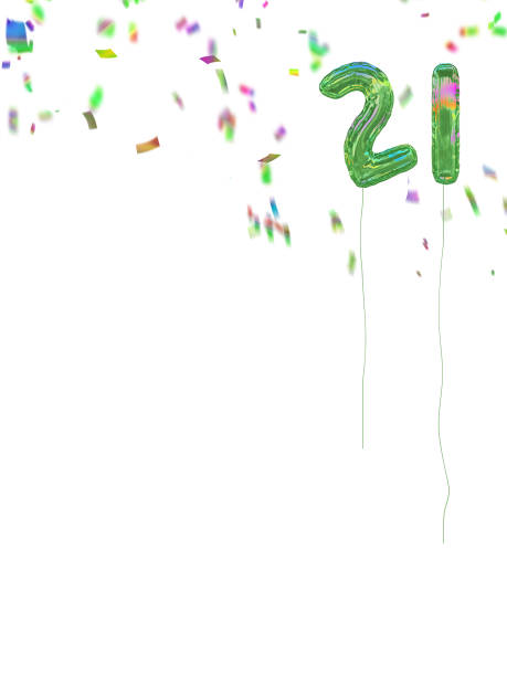 foil style birthday balloons with confetti. 21 today. - number 21 stock photos and pictures