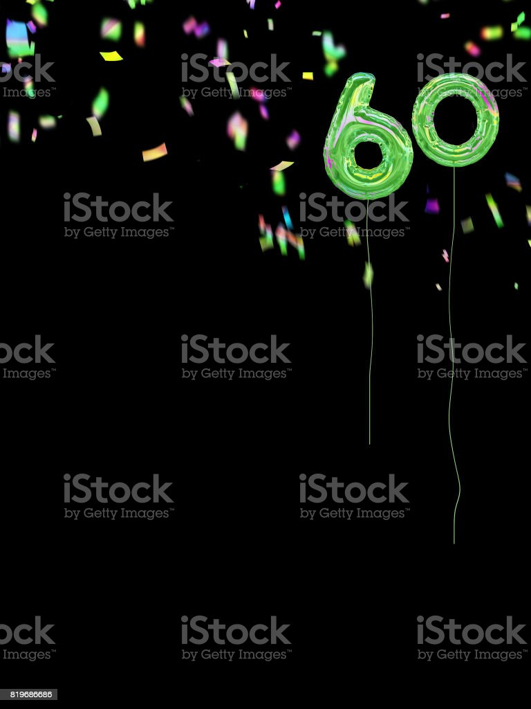 Foil Style Birthday Balloons With Confetti 60th Royalty Free Stock Photo