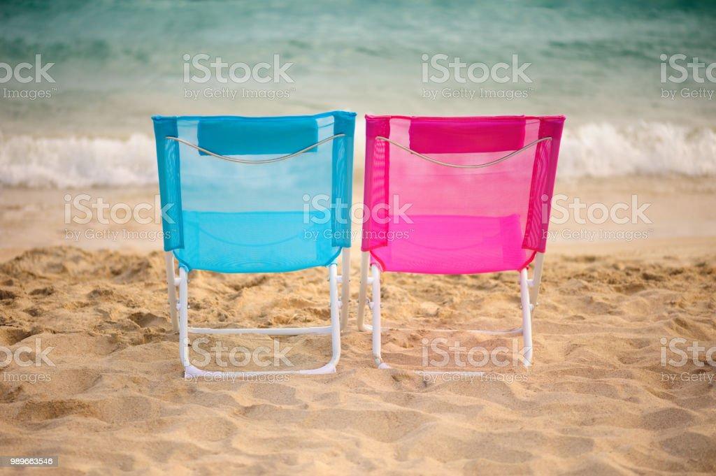 Remarkable 2 Foldable Chairs On The Beach Vacation Theme Stock Photo Creativecarmelina Interior Chair Design Creativecarmelinacom