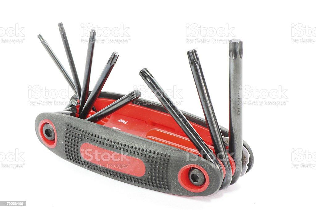 foldable six star screwdriver stock photo