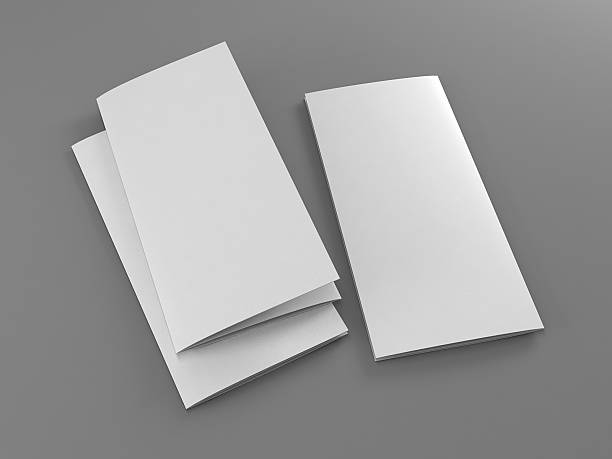 folded 3 sides flyer template stock photo