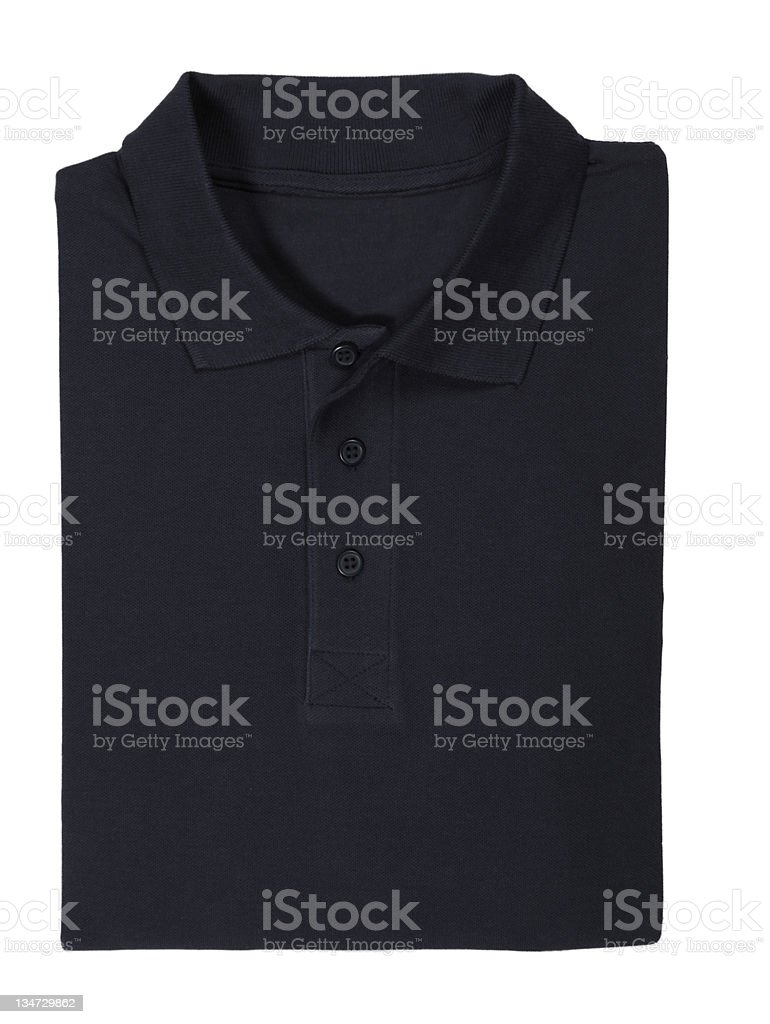Folded black polo shirt isolated on white royalty-free stock photo