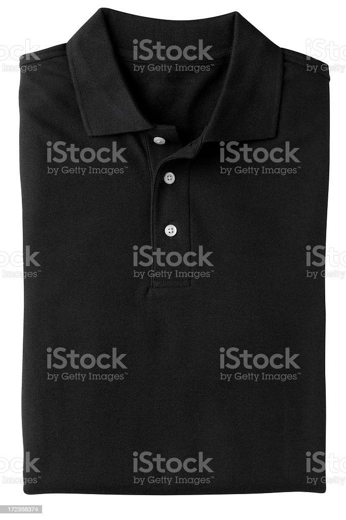 Folded Black Polo Style Golf Shirt, Isolated on White. royalty-free stock photo