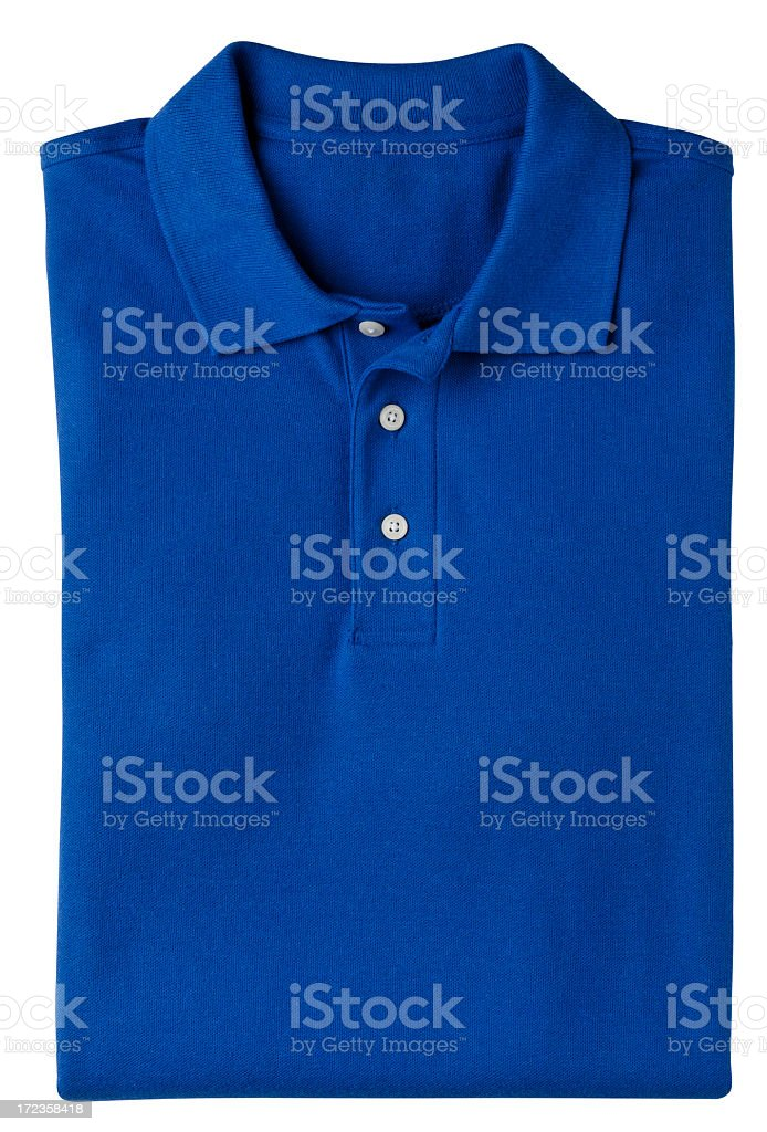 Folded Blue Polo Style Golf Shirt, Isolated on White. royalty-free stock photo