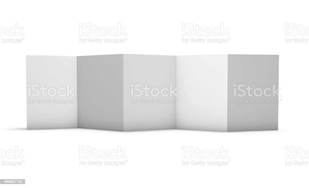 Z folded brochure mock-up with 5 blank pages format A4 3D illustration. stock photo