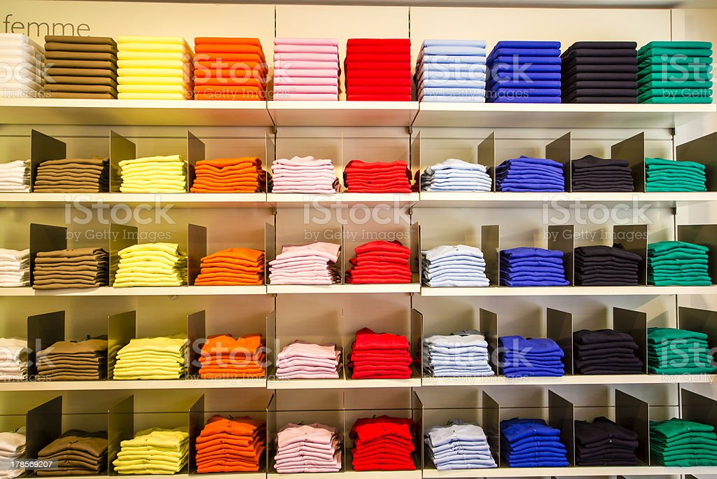 Folded clothes in the department store stock photo