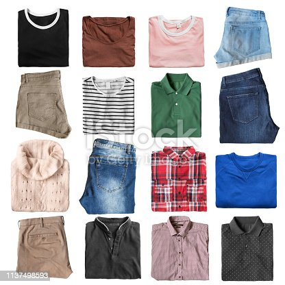 Group of folded casual clothes on white background