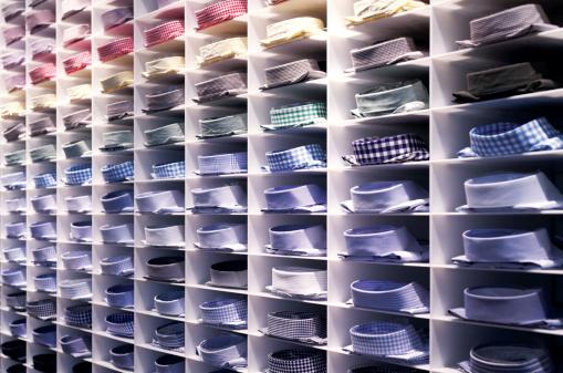 Folded colourful shirts stock photo