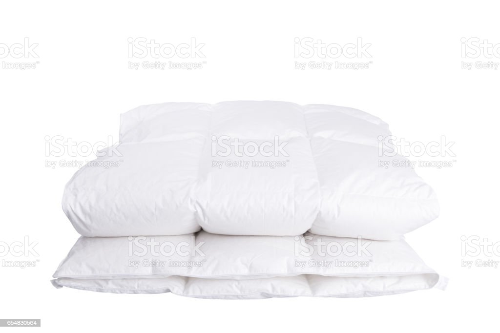 Folded duvet gainst white background – Foto