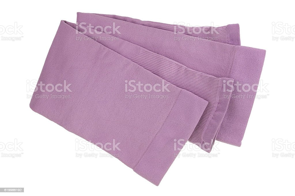 Folded fingerless sleeve in pink to cover and protect arm stock photo