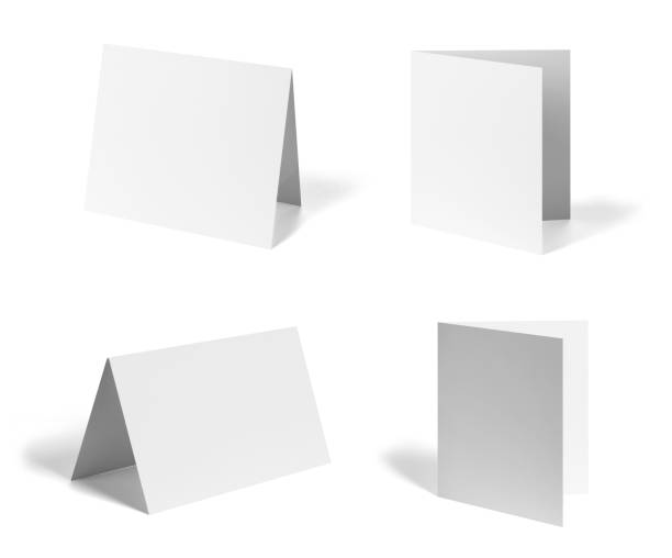 folded leaflet white blank paper template book desktop calendar - card stock photos and pictures