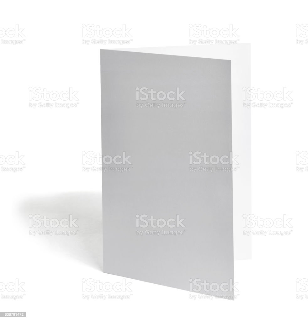 folded leaflet white blank paper template book stock photo