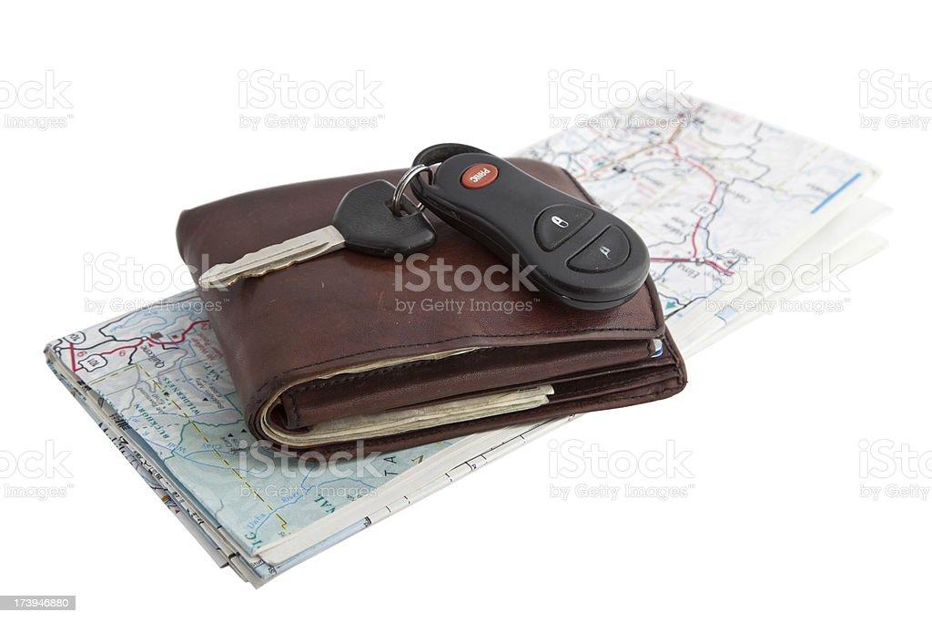 Folded Map Wallet And Keys royalty-free stock photo
