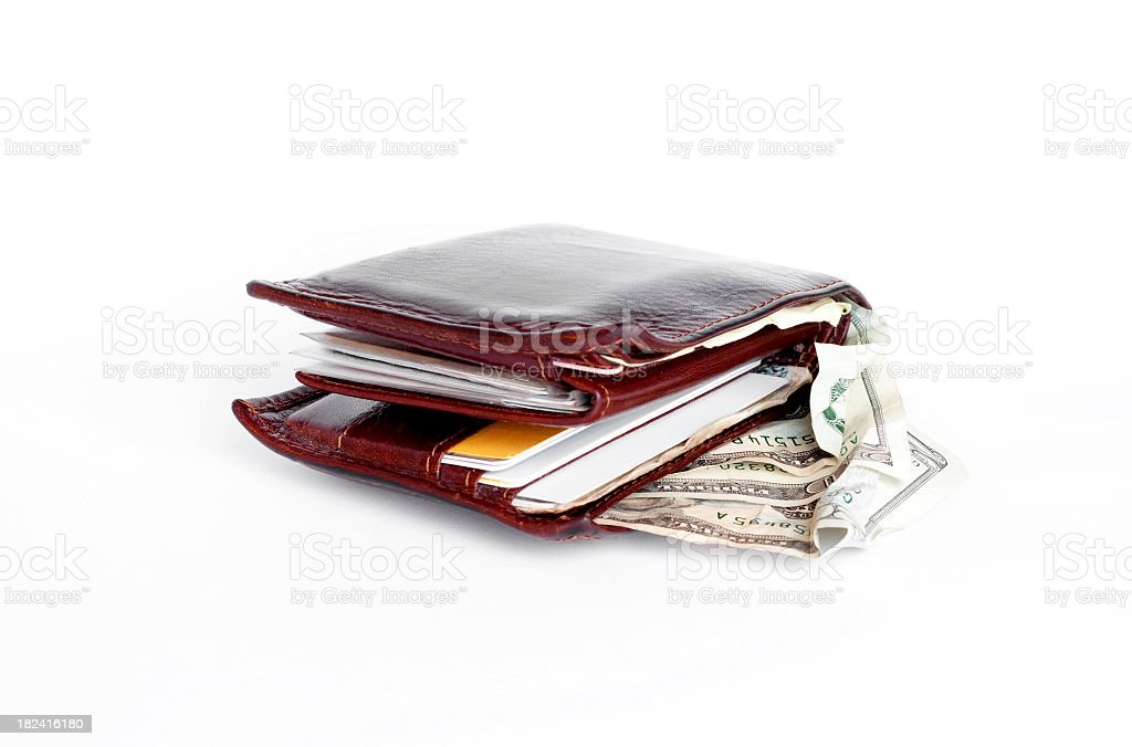 Folded Mens Wallet Showing Money and Cards stock photo