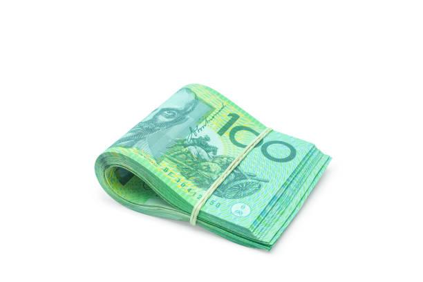 Der australische Banknoten isoliert auf weißem Hintergrund mit Beschneidungspfad gefaltet. – Foto
