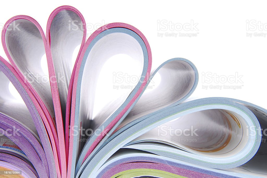 Folded over pages within a catalog stock photo