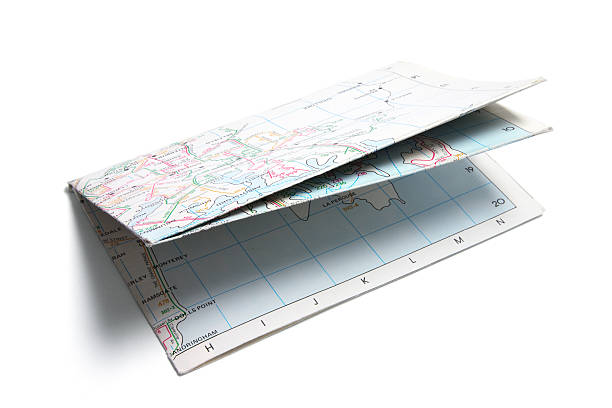 Folded Paper Street Map stock photo