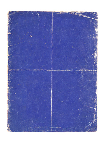 Blue poster background with creases, worn edges and folded in quarters.