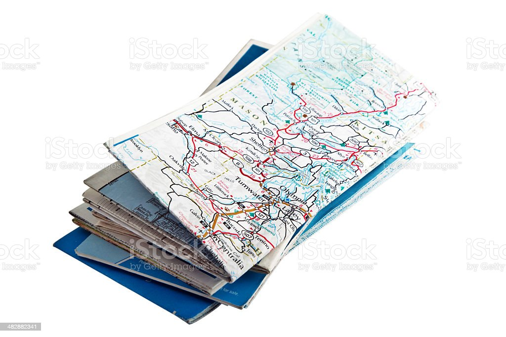 folded road maps royalty free stock photo
