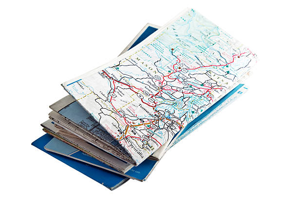 folded road maps - road map stock photos and pictures