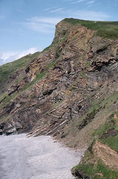 Folded rock in North Devon Cliff stock photo