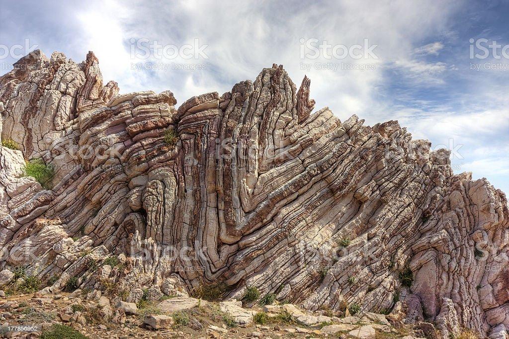 Folded rock stock photo