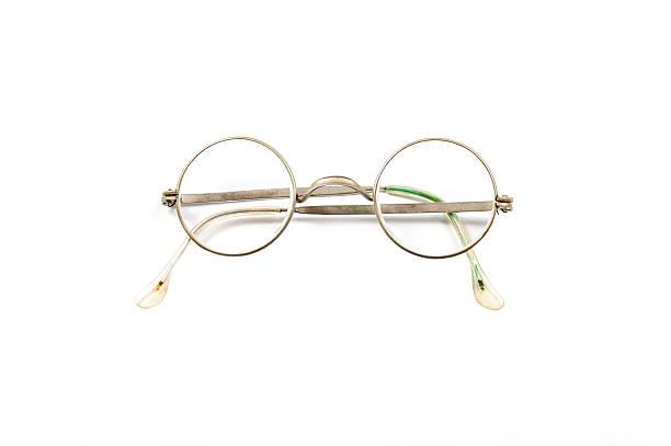 Folded round vintage eyeglasses stock photo