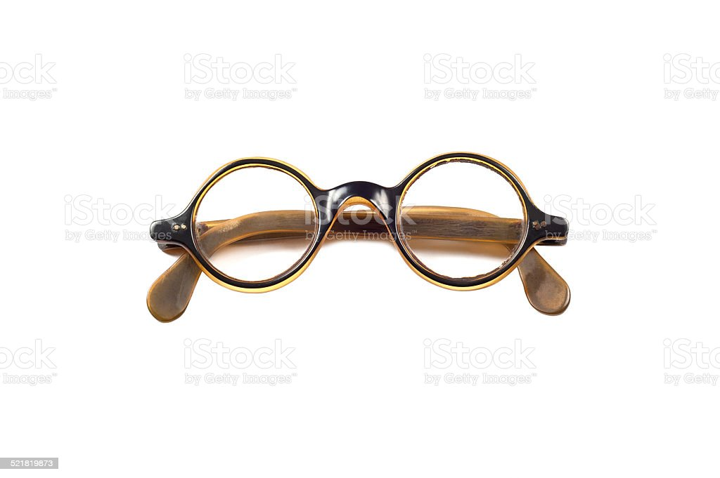 Folded round vintage eyeglasses. stock photo