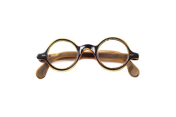 Folded round vintage eyeglasses. stock photo