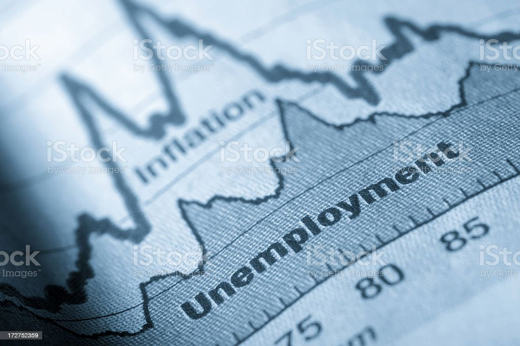 Folded sheet of paper with an unemployment graph on stock photo