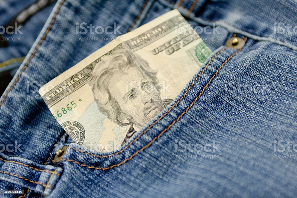 Folded Twenty Dollar Bill royalty-free stock photo