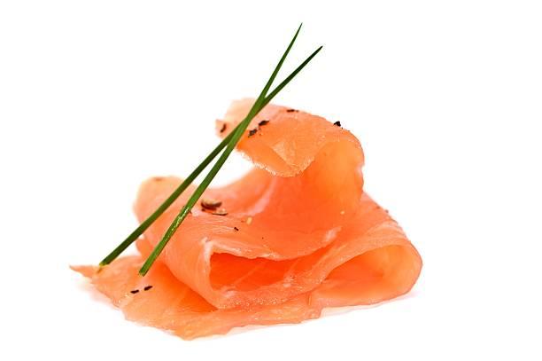Folded up salmon sashimi with light seasonings