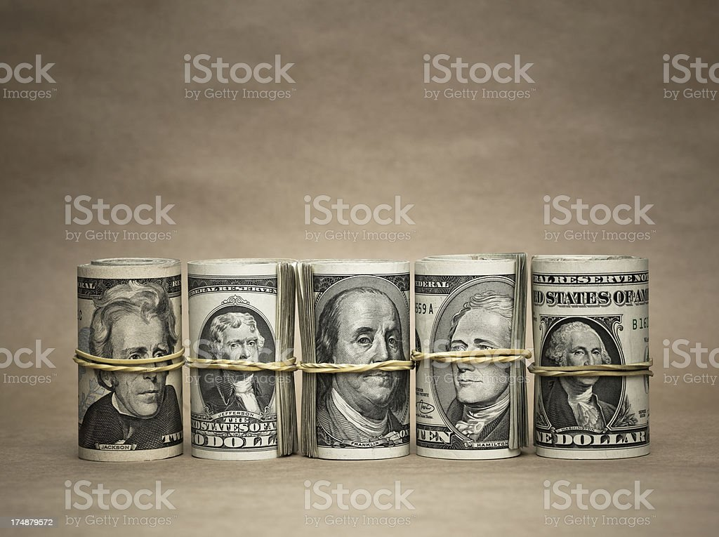 Folded US banknotes royalty-free stock photo