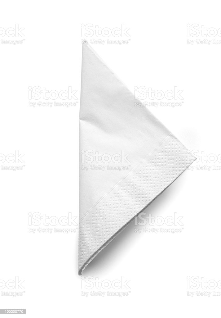 Folded White Cocktail Napkin - isolated stock photo