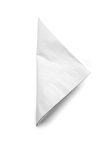 folded white cocktail napkin - isolated - servett bildbanksfoton och bilder