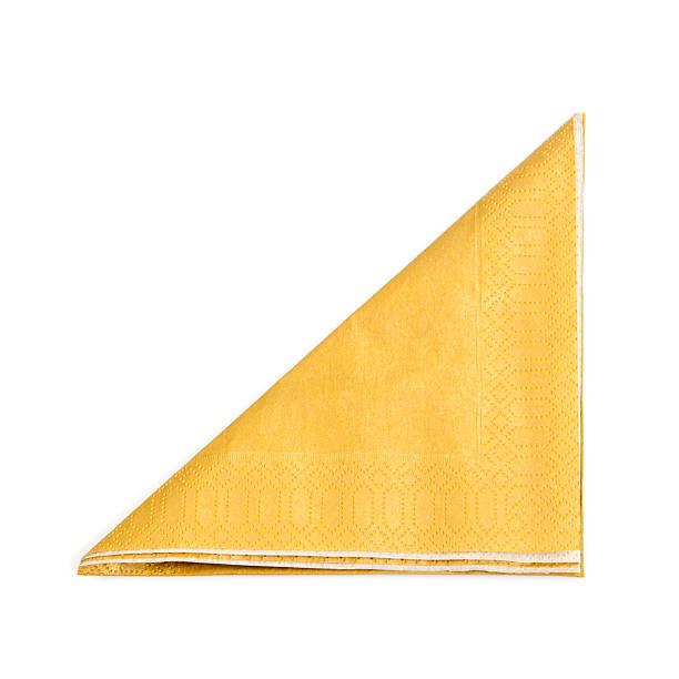 a folded yellow napkin on a white background - servett bildbanksfoton och bilder