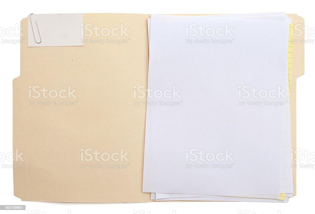 Folder & Paper (w/path) royalty-free stock photo
