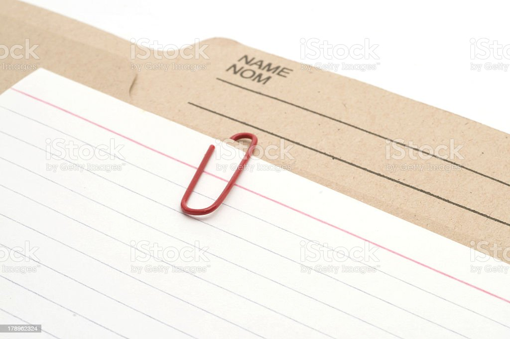 Folder and Index Card royalty-free stock photo