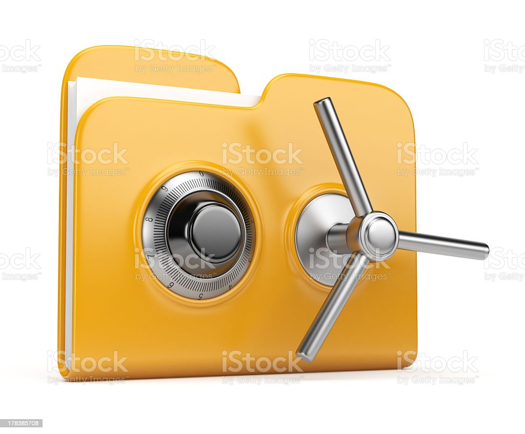 Folder and lock 3D. Data security royalty-free stock photo
