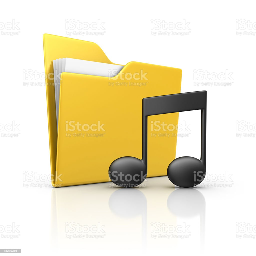 folder and musical note stock photo