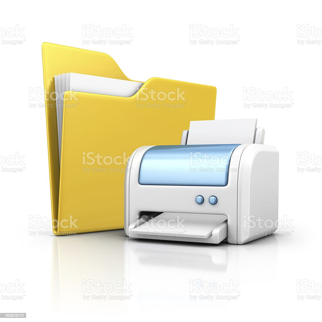 folder and printer stock photo