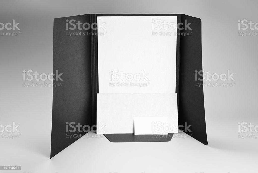 Ordner Leere Briefpapier Umschlag Und Visitenkarte Stockfoto