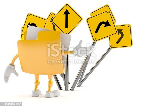 istock Folder character confused with road signs 1198357462